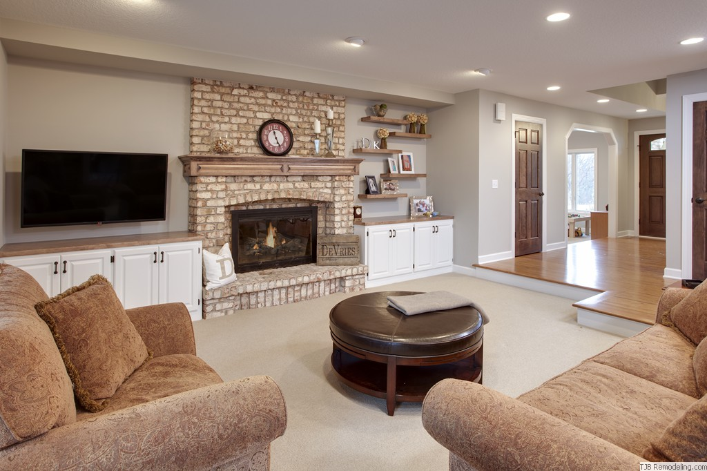 White Brick Gas Fireplace with Wood Mantle