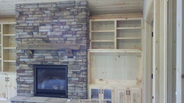 Stone Fireplace and Entertainment Center