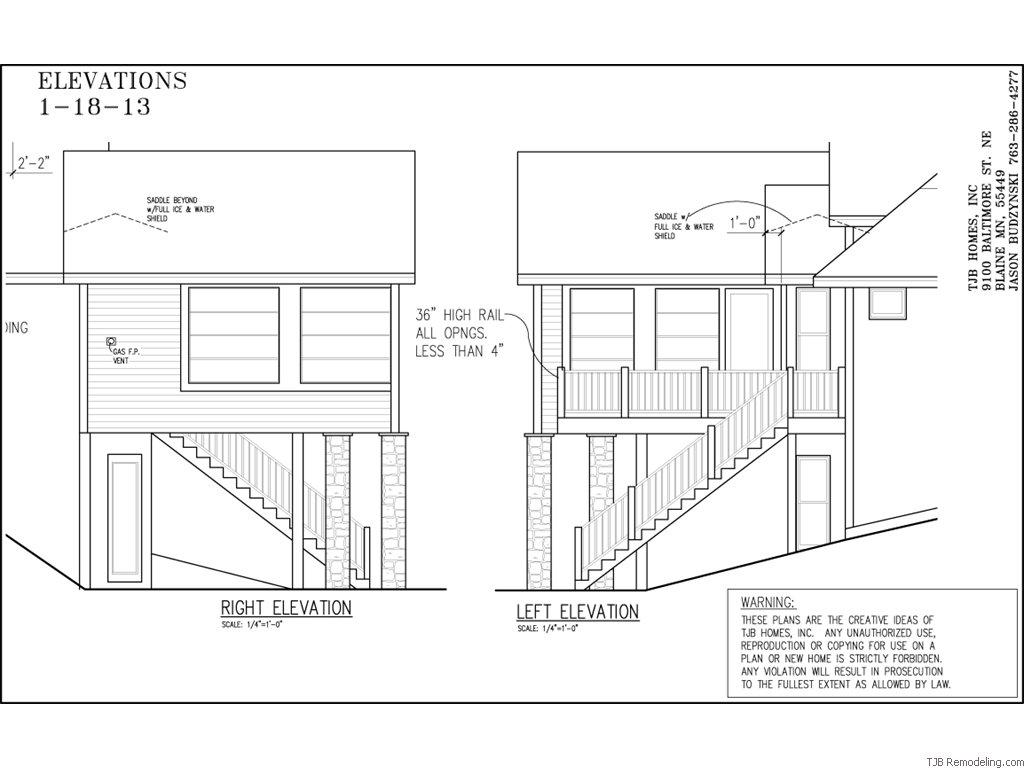 3 Season/4 Track Porch Left & Right Elevations