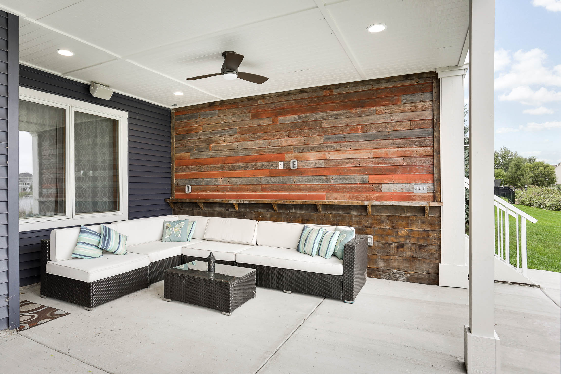 Wonderful space below for entertaining Lakeside, Includes Reclaimed Bar-wood accent wall