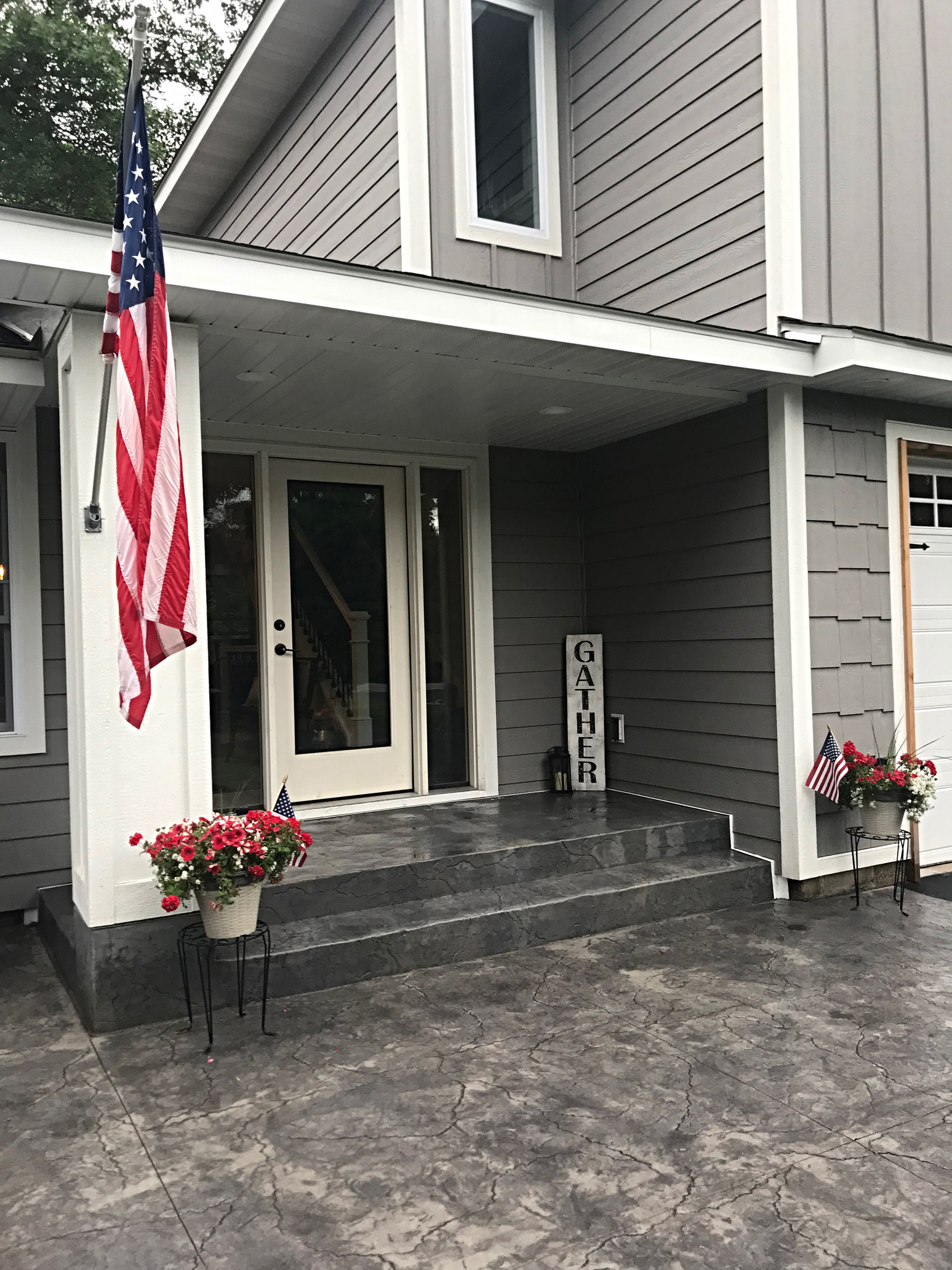 New Stamped concrete front porch