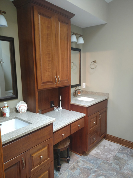 Medina Master Bathroom Remodel | Makeup station w/ room for seating
