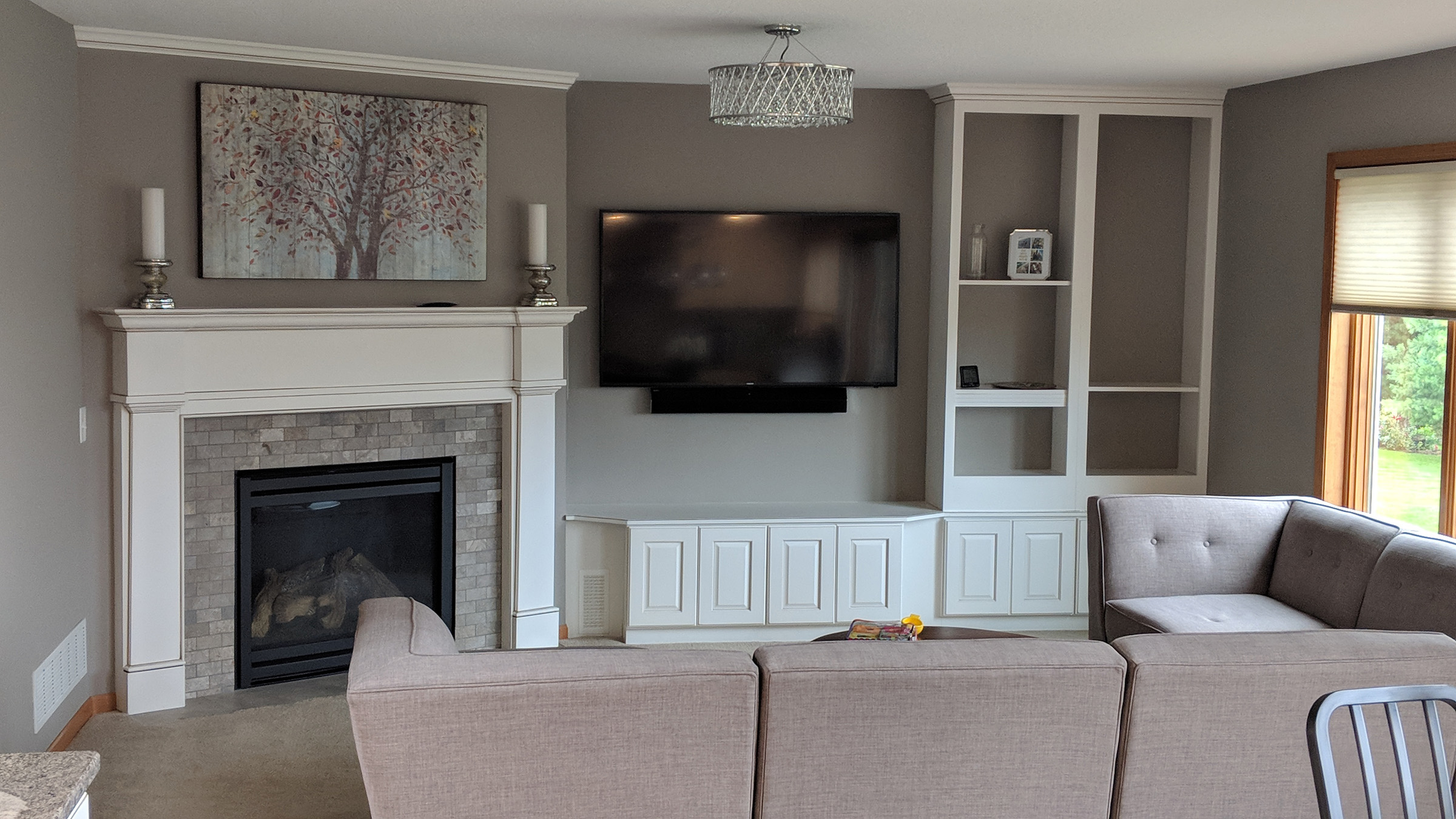 Media wall with built-ins and wall mounted TV