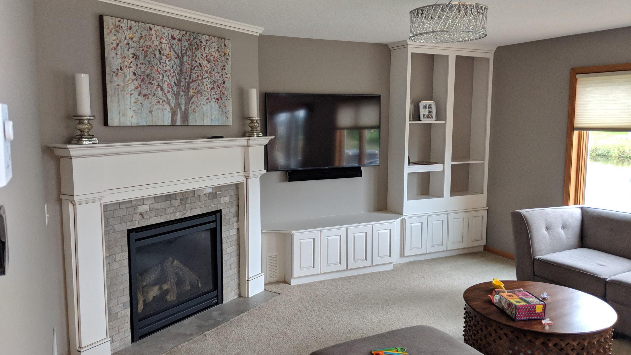 Angled fireplace with surround