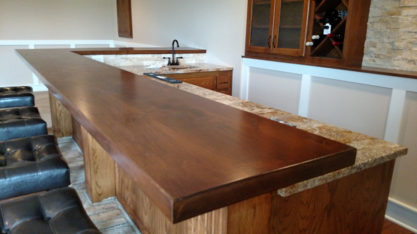 Wet Bar Hardwood Counter