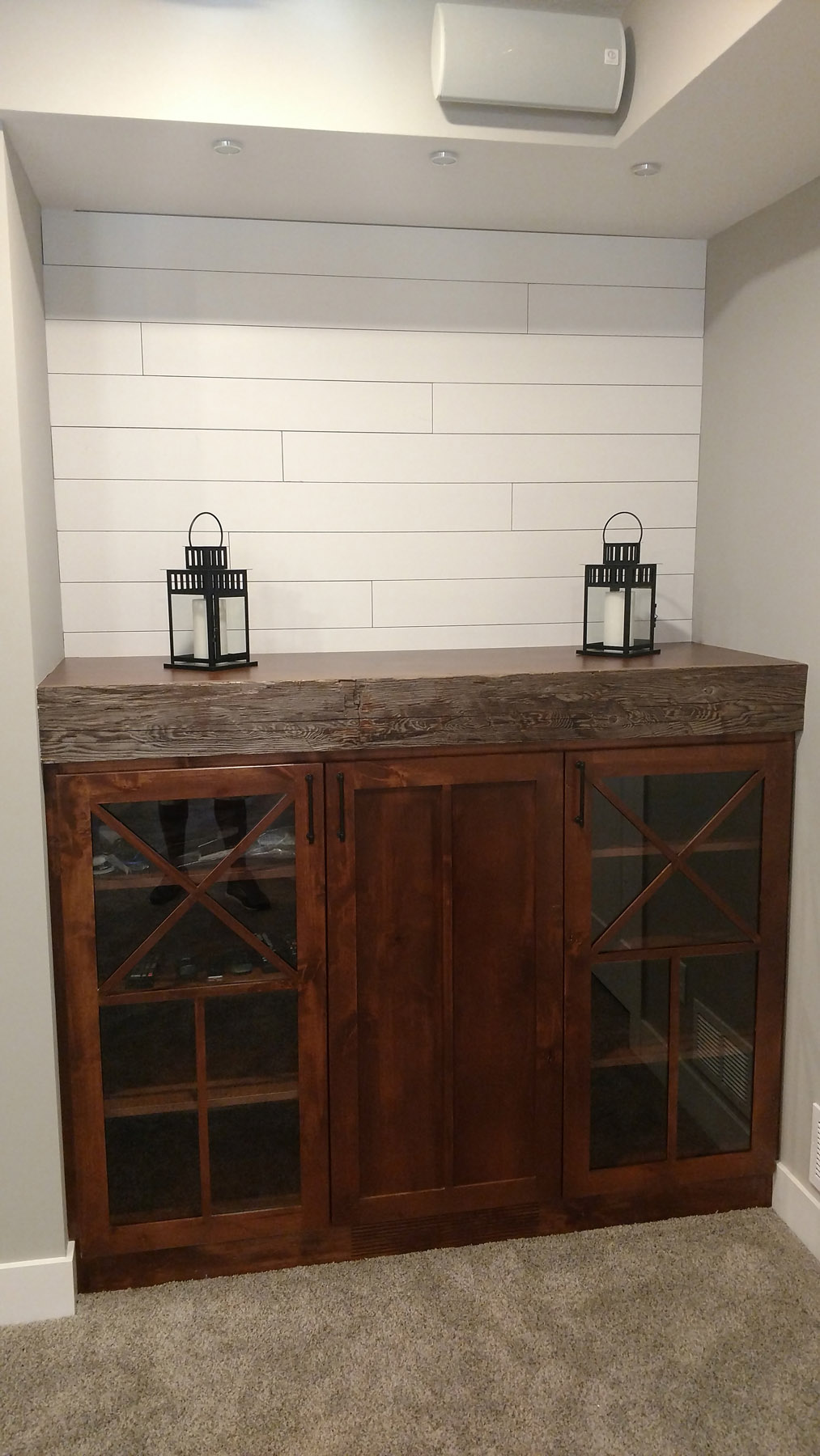 Knotty Alder cabinets w/ one of a kind grids