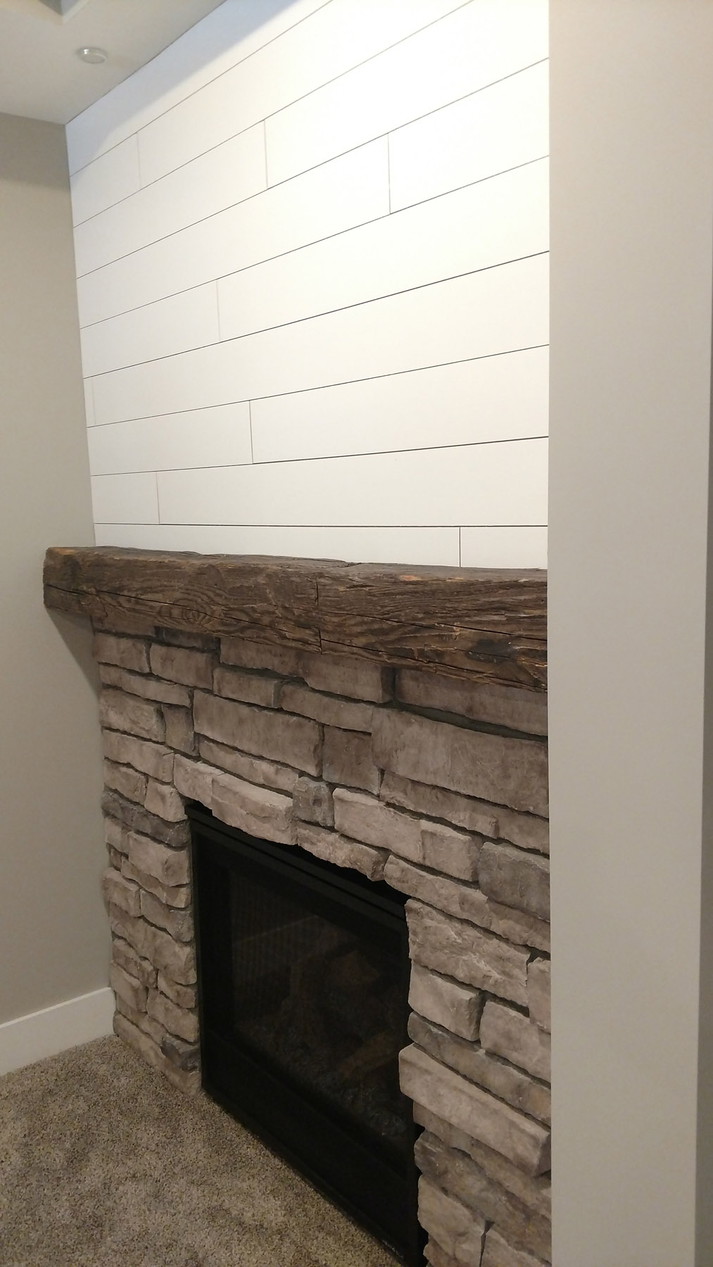 Stone Fireplace w/Timber mantle