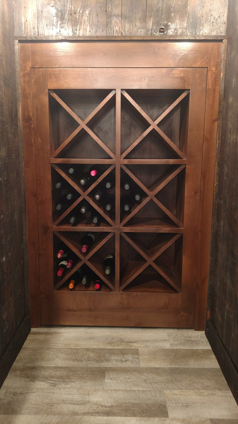 Hidden wine box door to under stair storage