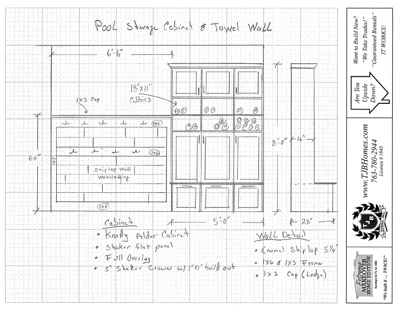 Sketch - Pool Storage and Towel Wall