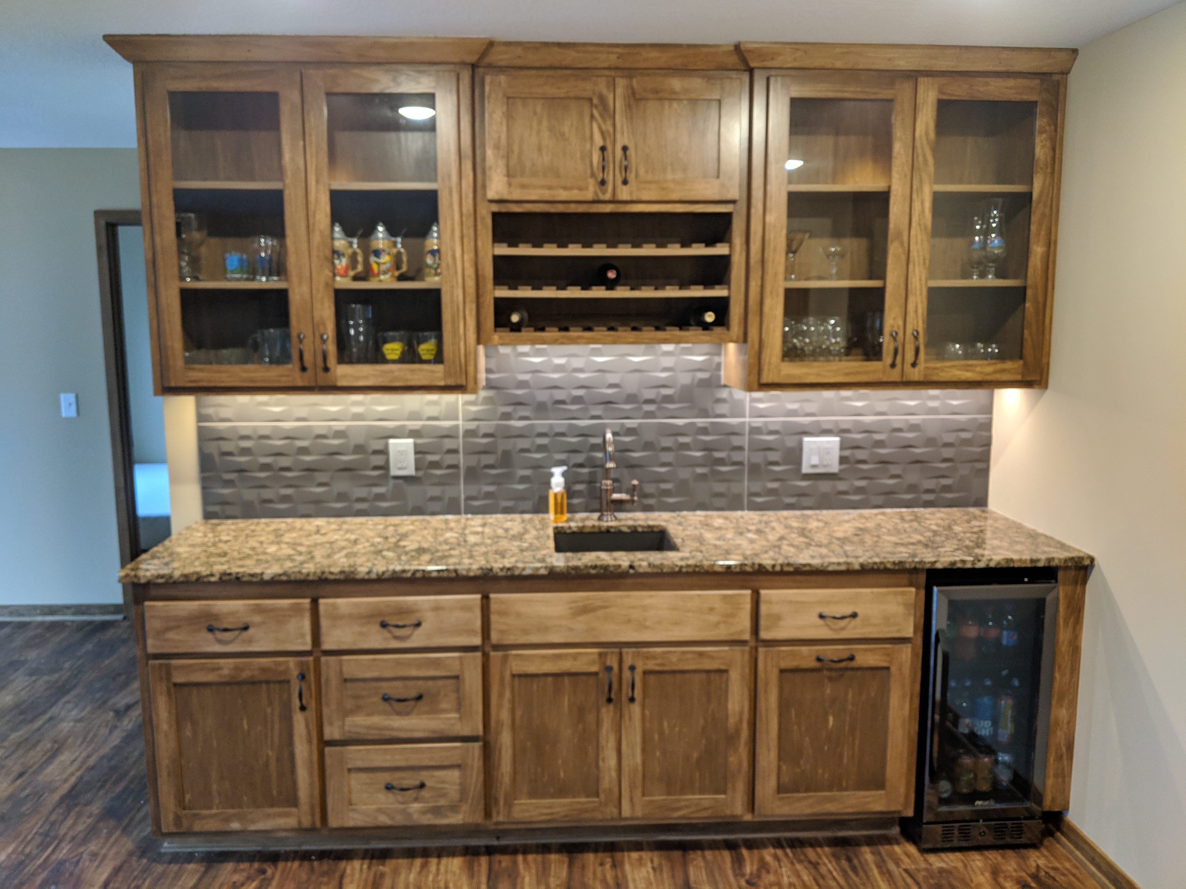 Custom wet Bar w/ Poplar millwork & Cabinets