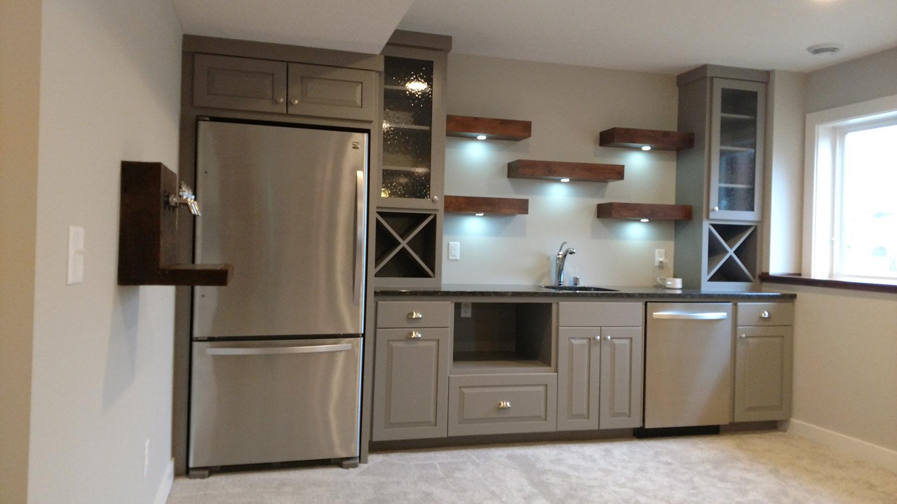 Wet bar w/ wine boxes & floating shelves