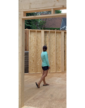 Sarah checking out the remodel progress