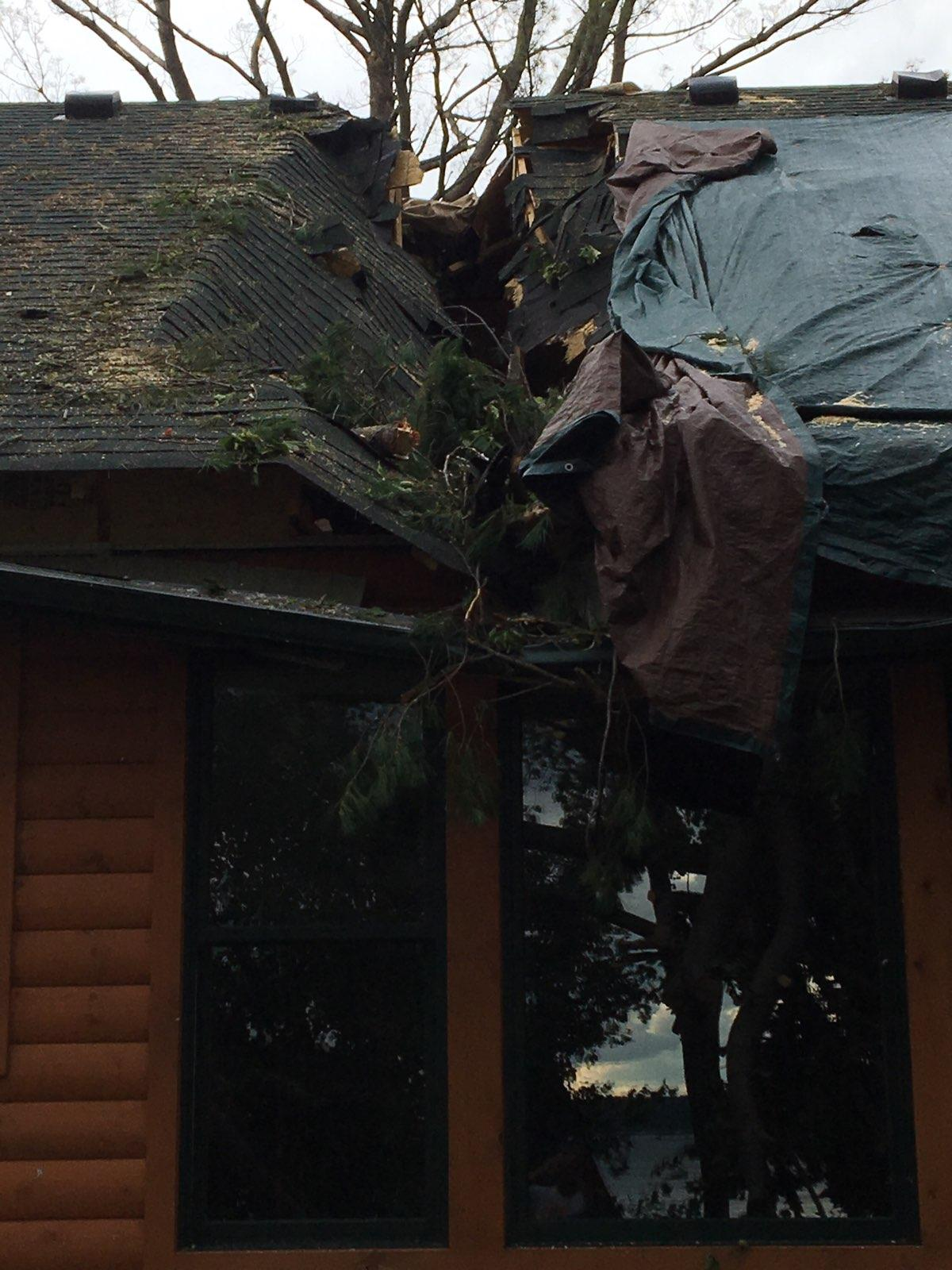 Storm Damage - hole in roof from fallen tree