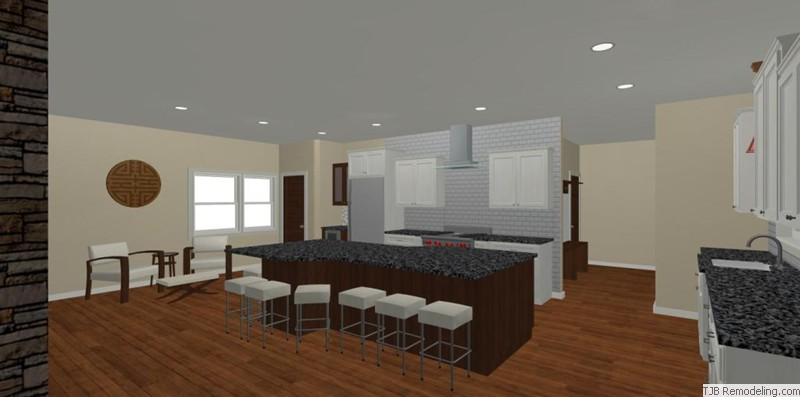 Kitchen, Stools, Sitting Area Design Plan