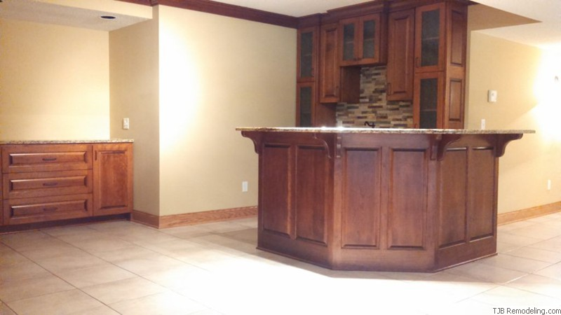 Angled  Wet Bar and Buffet