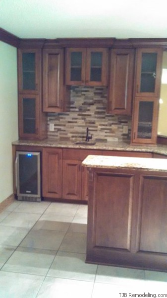 Wet Bar Tile, Granite Top, Back Splash and Custom  Cabinets