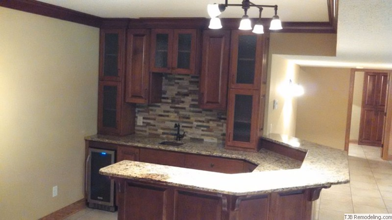 Angled Granite Top Wet Bar