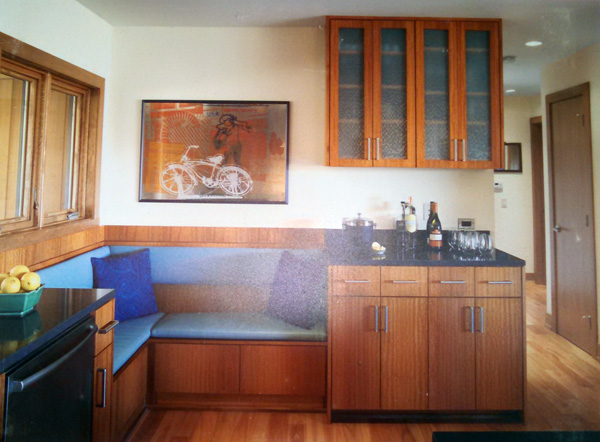 Kitchen cabinets are frameless African mahogany