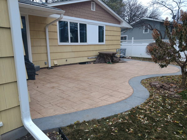 Stamped and colored concrete patio