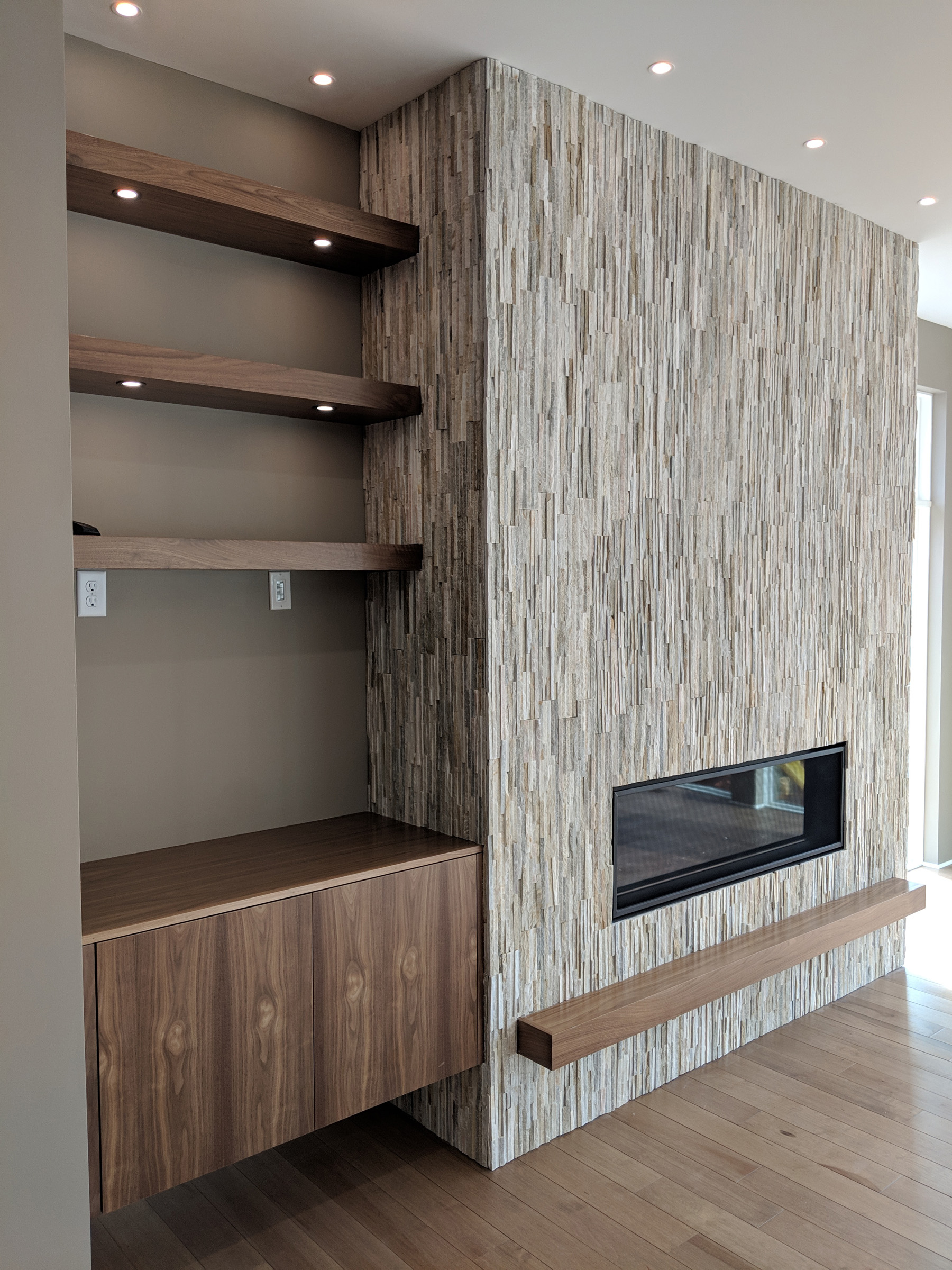 Built-in lighted shelving