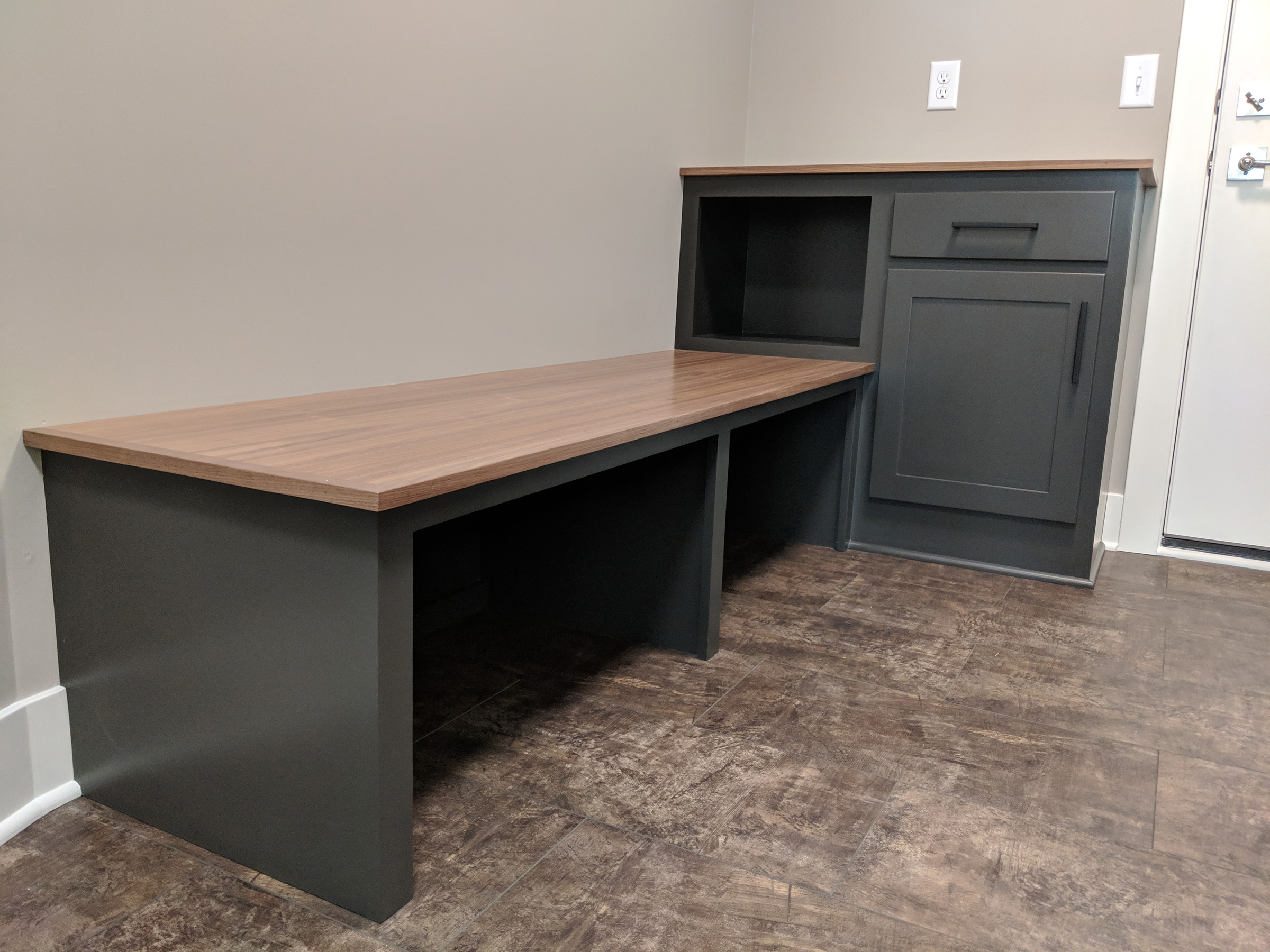 Mudroom with built-in bench and storage